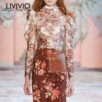 [LIVIVIO] Vintage Floral Printed Long Sleeve Sheer Tops Womens Silk Shirt Lace Up Women's Shirt Blouse Korean Fashion Clothing