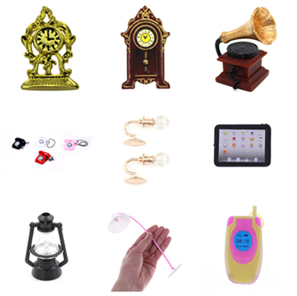 New 1:12 Doll House Phonograph Clock Computer Lamp Doll Accessories For Doll Kids Baby Toys Creative Christmas Gift