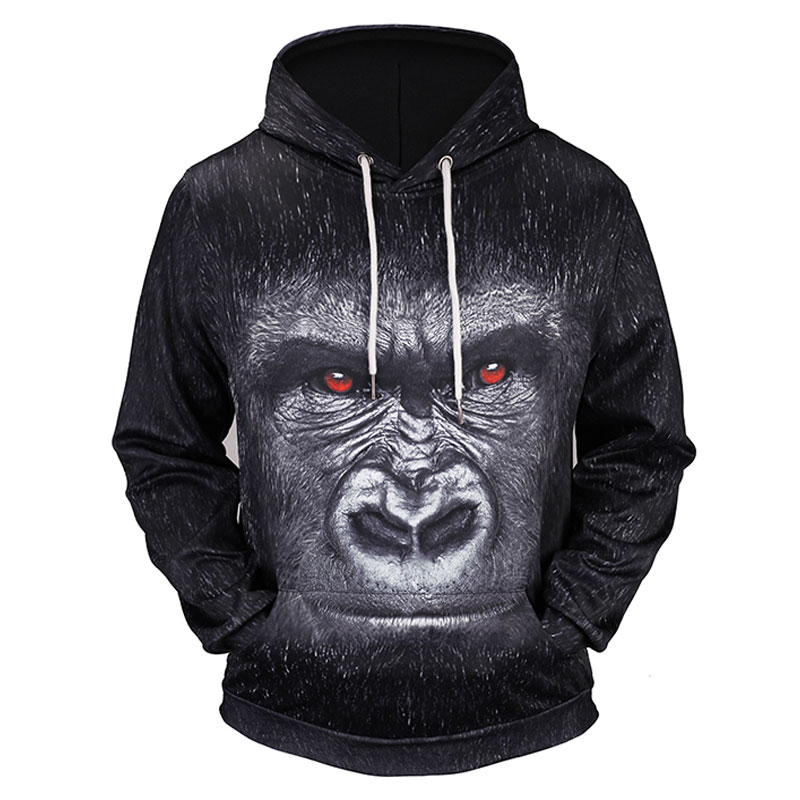 Headbook New Fashion Hoodies Women/Men 3d Sweatshirts Print Red Eyes Monkey Thin Hooded Hoody Tracksuits Pullovers 17090214