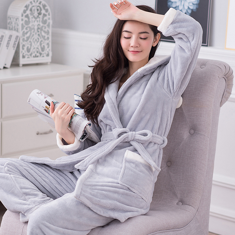 772a7e14138 Autumn and winter thickening Warm women flannel pajama sets sleepwear  female girl coral fleece pajamas free shipping A833-in Pajama Sets from  Underwear ...