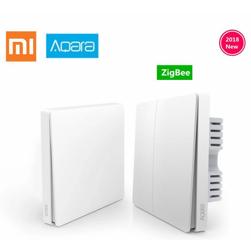Original Xiaomi Aqara Mijia Smart luz de Control de fuego de alambre inalámbrica ZigBee clave interruptor de pared a través de un Smartphone APP