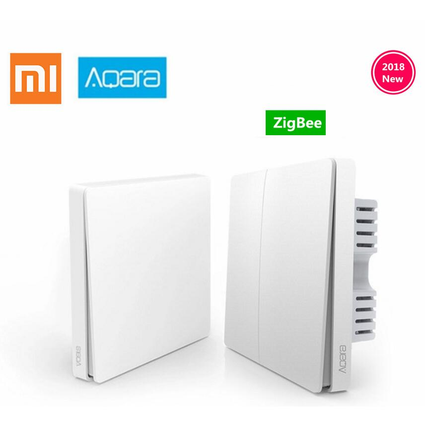 original Xiaomi Aqara Mijia Smart home Light Control Single Fire wire ZigBee Wireless Key Wall Switch Via Smartphone APP Remote цена и фото