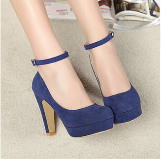 bd1c730f6 women thick heel pumps high heels Black blue small high heeled thick heel  buckle velvet pumps shoes red wedding pump shoes-in Women's Pumps from Shoes  on ...