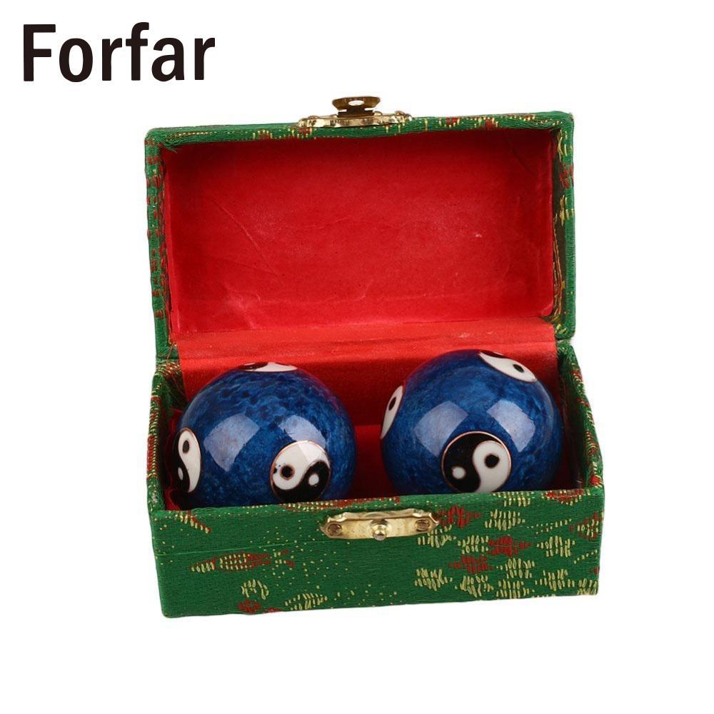 Forfar 1Pair 16mm Health Ball Hand Massage Exersice Metal Meditation Stress Relief Fitness Massage Handball Health Care Product