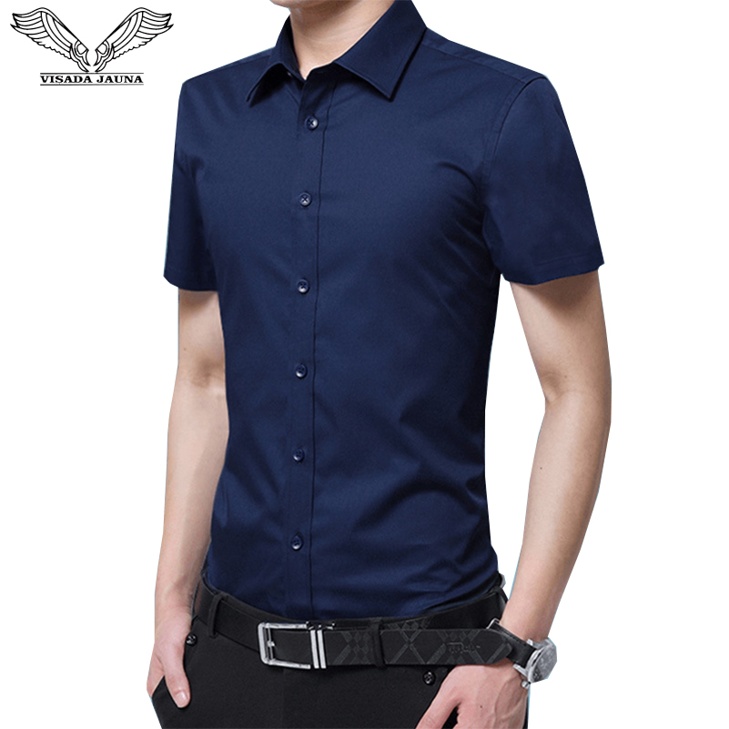 VISADA JAUNA 2019 Men Short-Sleeved Shirt Slim Fit Summer Fashion Siold Color Dress Suits Male Boys Business Big Size 8XL N5095