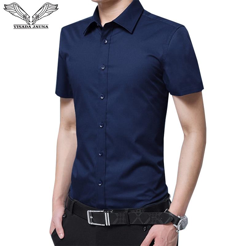 VISADA JAUNA 2019 hommes à manches courtes chemise Slim Fit été mode Siold couleur robe costumes hommes garçons affaires grande taille 8XL N5095