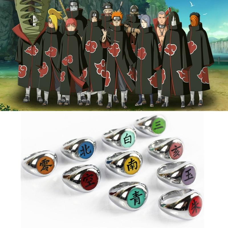 10style Anime HOKAGE Naruto Akatsuki Cosplay Rings Sasori Itachi Hidan Deidara Pein Accessories Prop