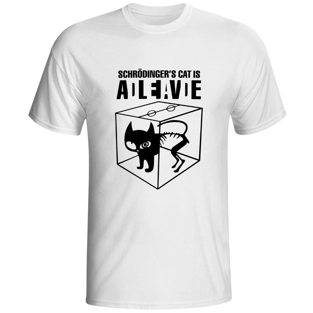 Schrodinger Black Cat Is Alive T Shirt Geek Parodox Physics Print Brand Design T-shirt Anime Casual Fashion Unisex Tee