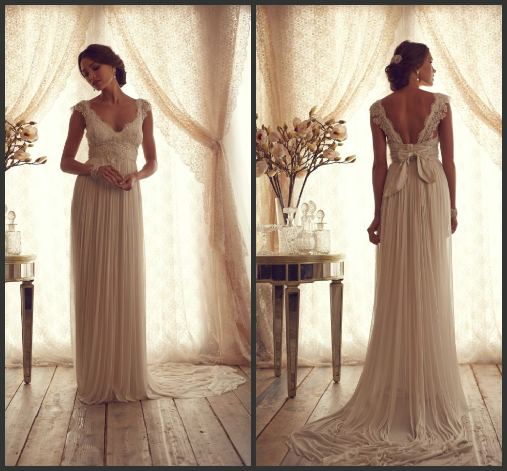 Ruching Wedding Gowns: Cheap Sheath Lace Wedding Dresses V Neck Backless Bow