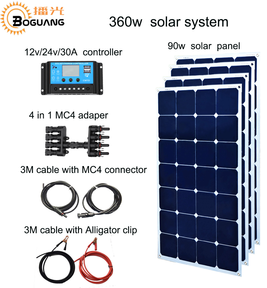 Boguang 90w Aluminum solar panel 360w solar system 30A controller  DIY kit cell module for 12v battery yacht house roof car RV 100w 12v solar panel module 20a cmg controller 1000w off grid for car traile solar generators