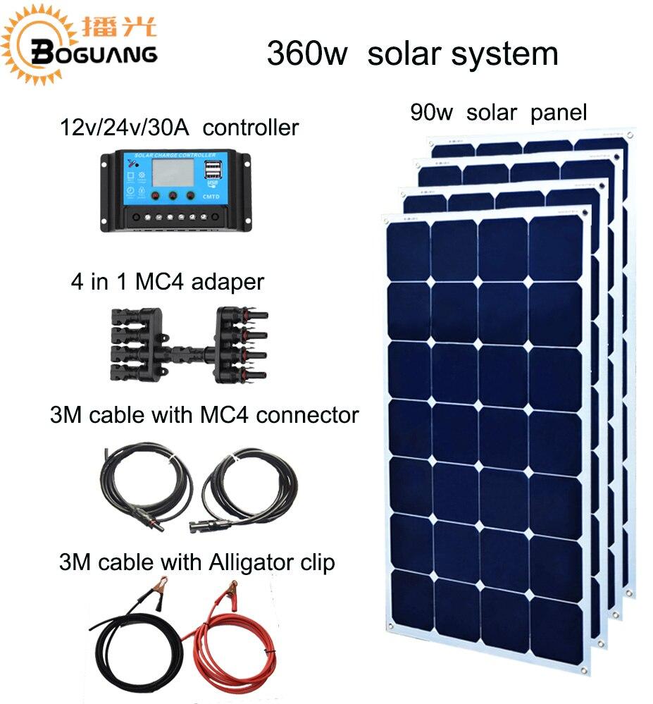 Boguang 90w Aluminum solar panel 360w solar system 30A controller  DIY kit cell module for 12v battery yacht house roof car RV 550mm 30m solar cell eva sheet for diy solar module