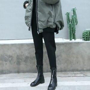 Image 3 - [EAM] wysoka elastyczna talia czarny rozrywka krotnie spodnie haremowe nowy luźny krój kobiety moda fala wiosna jesień 2020 JK480
