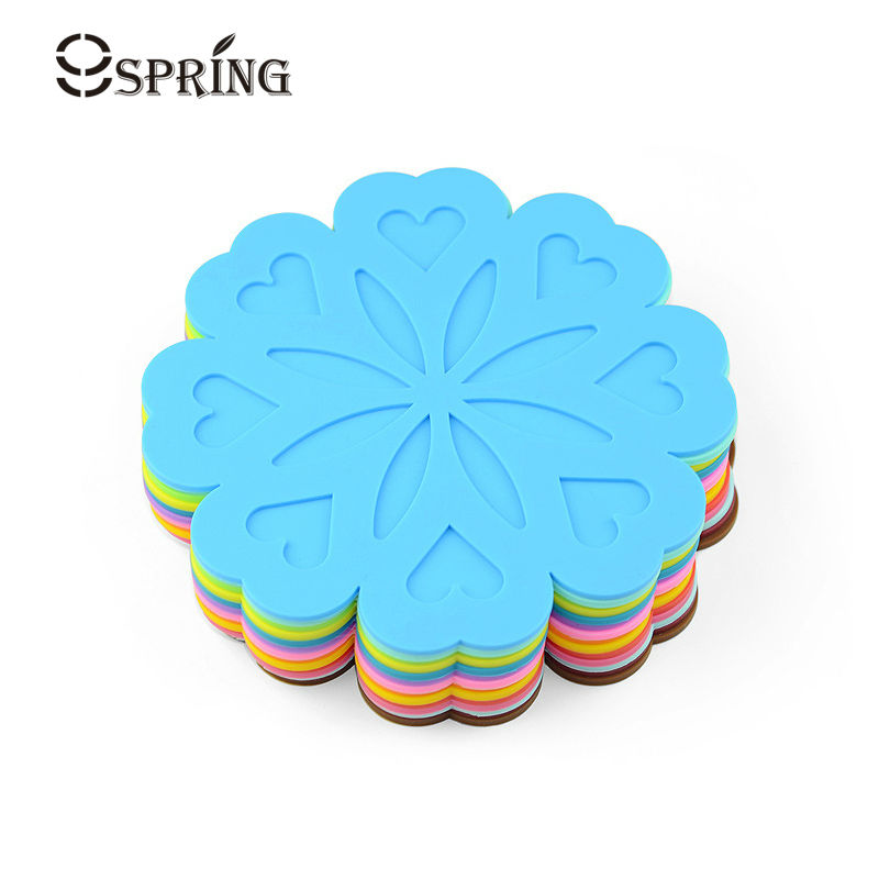Colorful Silicone Mat Kitchen Accessories Mug Coaster Creative Floral Shape Silicone Dish Mat Pot Holder Heat Resistant Placemat
