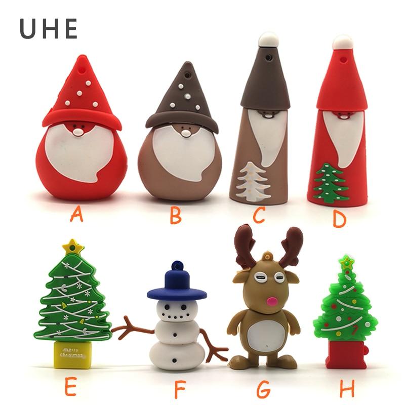 Pendrive Christmas Tree/snowman/Santa Claus Usb Flash Drive 4GB 8GB 16GB 32GB 64G Christmas Deer Memory Stick  Pen Drive Cle Usb