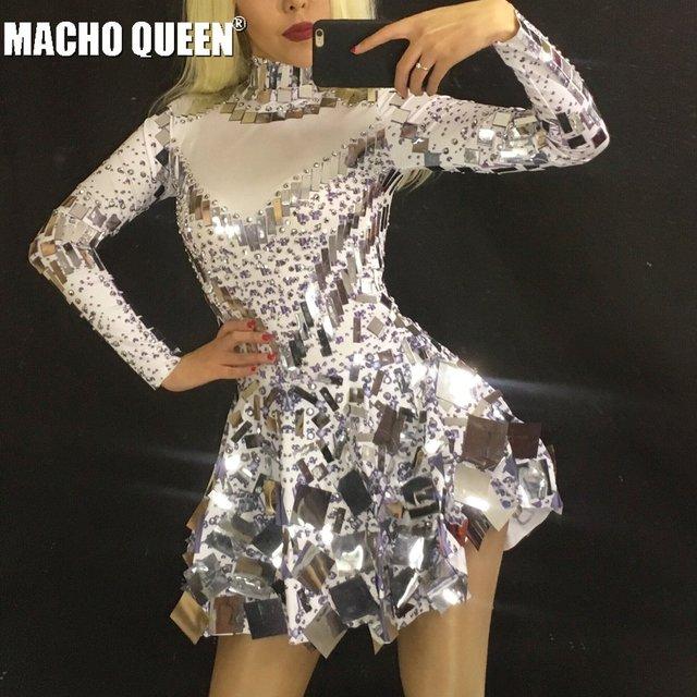 Miroir-blanc-Strass-Body-Robe-de-Danse-Latine-Costume-Brillant -Femmes-Tenue-Drag-Queen-Costumes-Combinaison.jpg 640x640.jpg 0e752bc1aa7