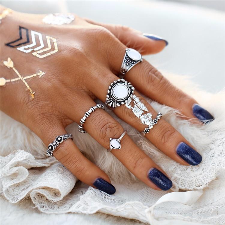 HTB1XgIzOFXXXXc0apXXq6xXFXXXn 6-Pieces Boho Ethnic Vintage Turquoise/Opal Knuckle Ring Set For Women - 2 Styles