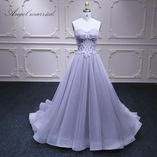 Ange marié Robes de Soirée de luxe robe de bal Violet perles formelle pary robe longue femmes pageant robe 2018 robe de festa