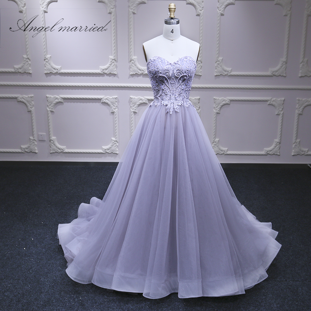 Angel married   Evening     Dresses   luxury Violet prom   dress   beads formal pary   dress   long womens pageant gown 2018 vestido de festa