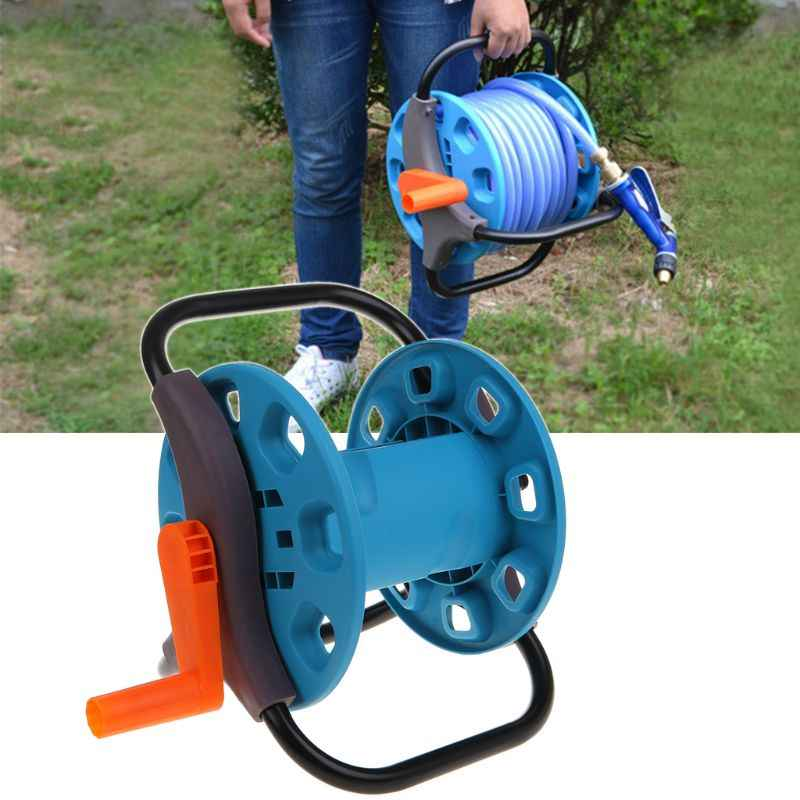 Portable Garden 25M Water Hose Reel Cart Storage Rack Holder Winding Waterpipe Bracket Shaking Tools