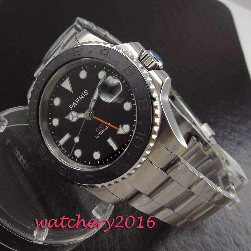 new 40mm Parnis black dial sapphire glass date adjust mens watches military army GMT Automatic movement