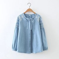 Women Ethnic Blouse Shirt Cotton Long Sleeve Embroidery Denim Shirts Pullover Jeans Tunic Vintage Tops Female