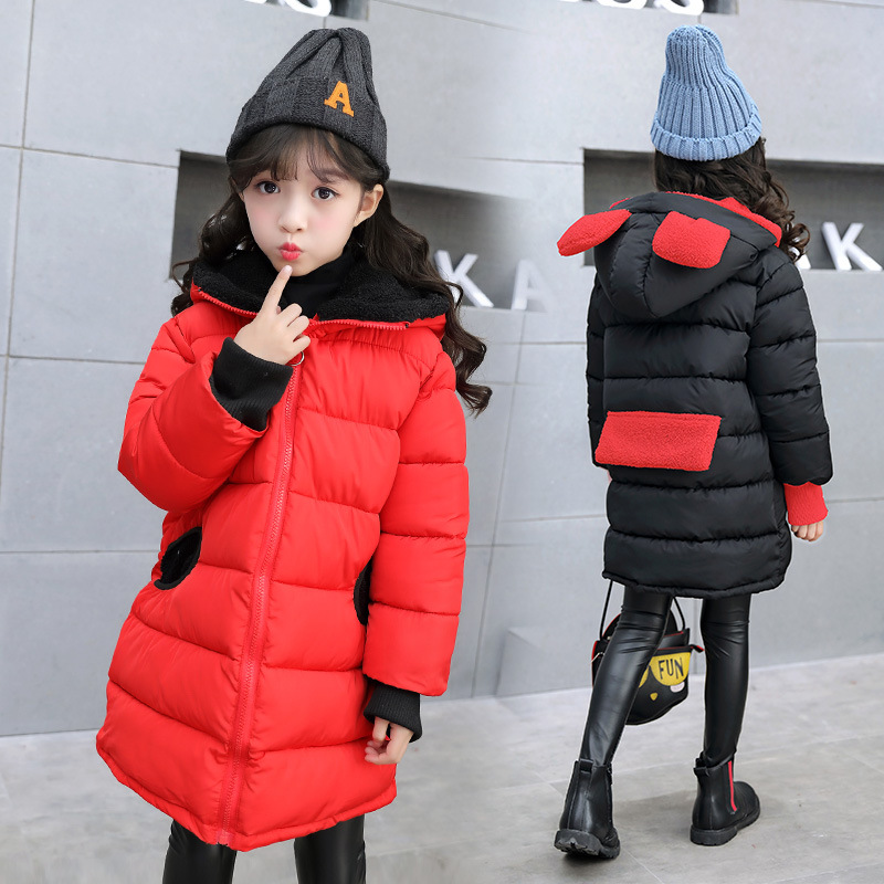 2017 Winter New Kids Girls Cotton-padded Coat Cute Down Jacket Hooded Long Parkas Fleece Thicken Warm Children Overcoat 2017 new solid winter jacket women hooded coat cotton padded parkas long warm sweat girls cold outwear female down jacket m 3xl