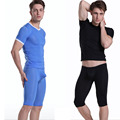 1 Set Men's sexy long Underwear transparent ice silk Long Johns Men pajamas Sleepwear Mid Pants short sleeve