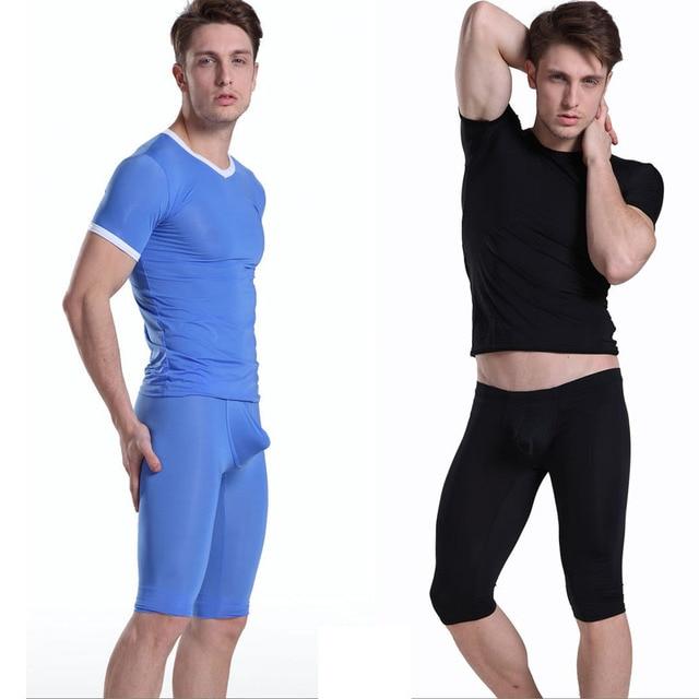 1 Unidades hombres sexy long Long Johns Hombres pijamas ropa de Dormir Ropa Interior de seda de hielo transparente Mediados de Pantalones de manga corta