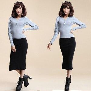 Image 2 - 2016 סתיו חורף נשים חצאית צמר צלעות לסרוג ארוך חצאית Faldas חבילה ירך פיצול חצאיות D919
