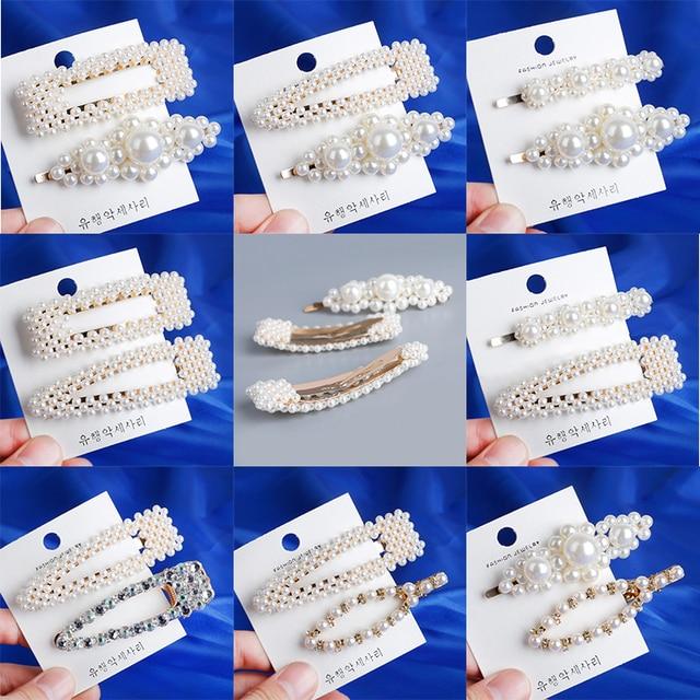 Moda 8 estilos mujeres coreanas de perlas de imitación perlas Clip de pelo Barrette palo horquilla pelo accesorios hecho a mano para niñas