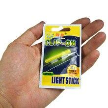 Clip On! 100Pcs XL 3.3-3.7mm Fishing Glow Stick Fluorescent Light stick Dry Type Luminous Wand Tubes Snap On Fishing Rod Top