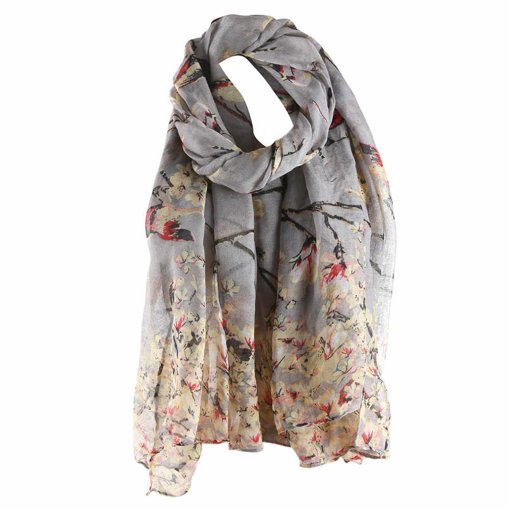 Elegant Ladies Scarf Floral Bird Printed Women Long Scarf And Shawl Female Fashion Design Hijab Bufanda Mujer#H15