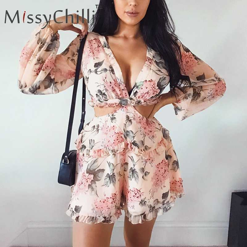 0ef59d2bc41 MissyChilli Sexy v neck backless summer playsuit Women bodycon beach short jumpsuit  Elegant pink ruffle party