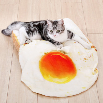 Soft Bread Bed and Fried Egg Blanket for Cats 3