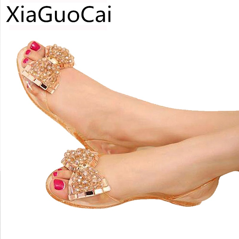 Style Bling Bowtie Woman's Sandals Summer Peep Toe Butterfly-knot Jelly Shoes for Ladies Female Fashion Shallow Flat Sandals zapatos mujer black red summer sweet bowtie flat sandals slip toe beach sandals butterfly knot flat sandals shoes plus size 44