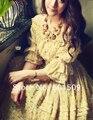 Vestido medio vendimia, manga de la hoja del resorte elástico de la gasa larga medieval renacimiento princesa traje victoriano / Marie
