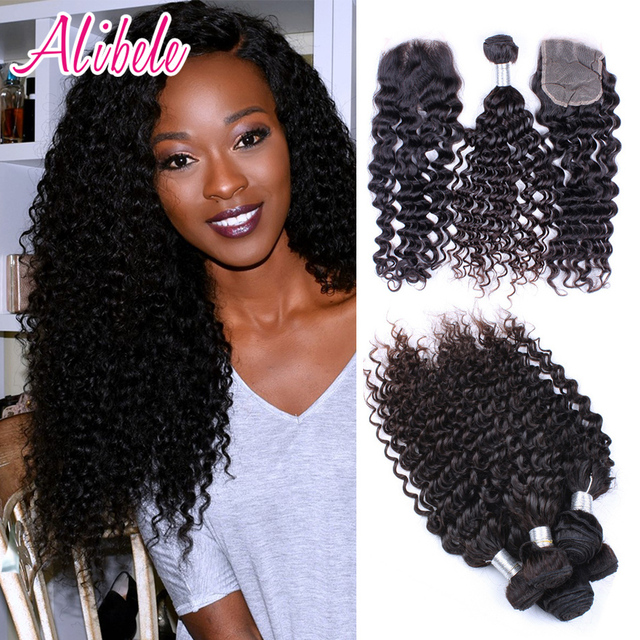 malaysian virgin hair curly 4 bundles with closure Ali Bele malaysian curly hair with closure malaysian deep wave with closure