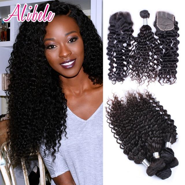 Malaysian Virgin Hair Curly  Bundles With Closure Ali Bele Malaysian Curly Hair With Closure Malaysian