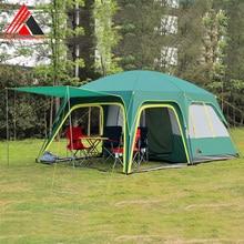 Vencedor 2 habitaciones 1 sala 6-12 personas gran familia viajes acampar al aire libre tienda de buena calidad y gran espacio verde y gris top