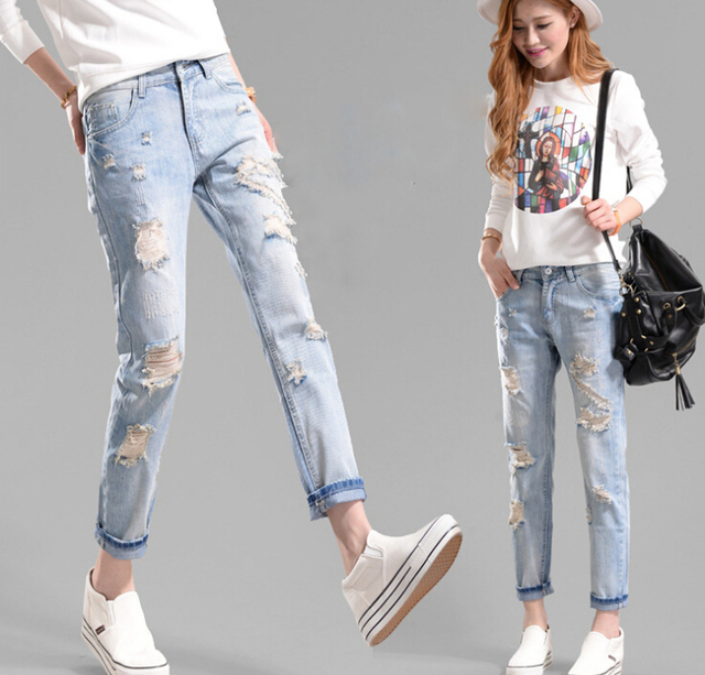 2015 Women Casual Summer Style Ripped Hole Jeans Thin Distressed Funky jean  Large Size Rock Star Denim Pants American Apparel f9465a3a4970