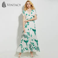 Vintacy 2017 Chiffon Women Summer Party Dress Floral Office Vacation Dresses Backless Casual V Neck Women