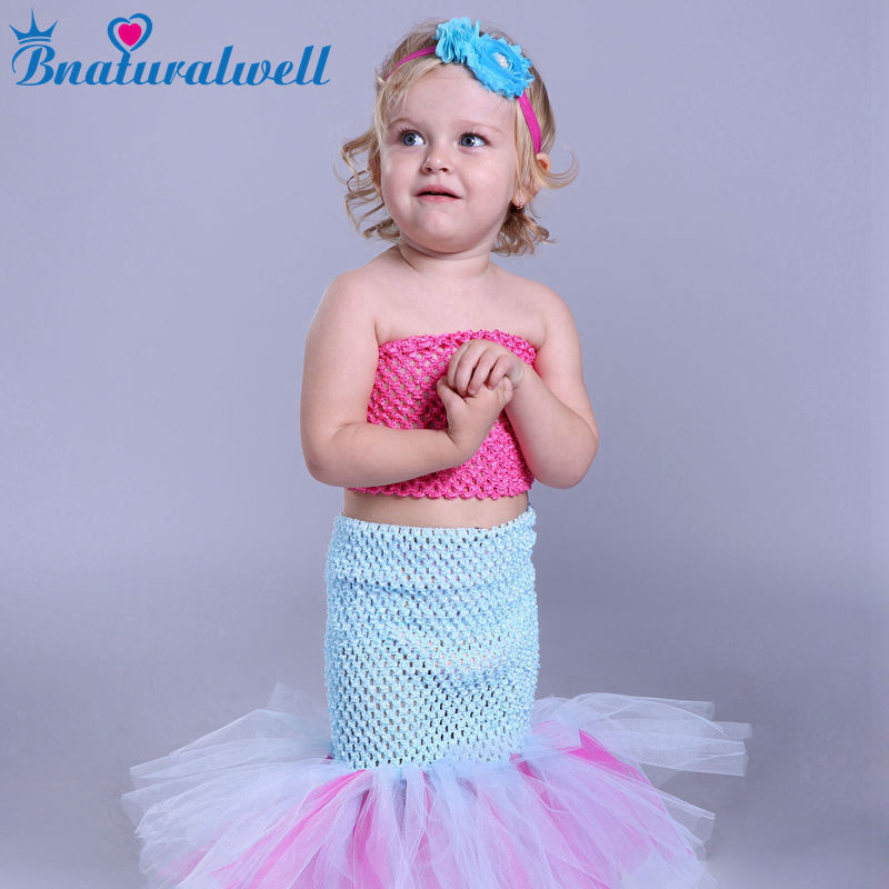 Bnaturalwell Baby Girls Tutu Dress Mermaid Cosplay Costume Princess Tulle Dresses For Party Birthday Photography props TT006K newest girls princess tutu dress cosplay elsa dress christmas halloween costume for kids performance birthday dresses vestidos