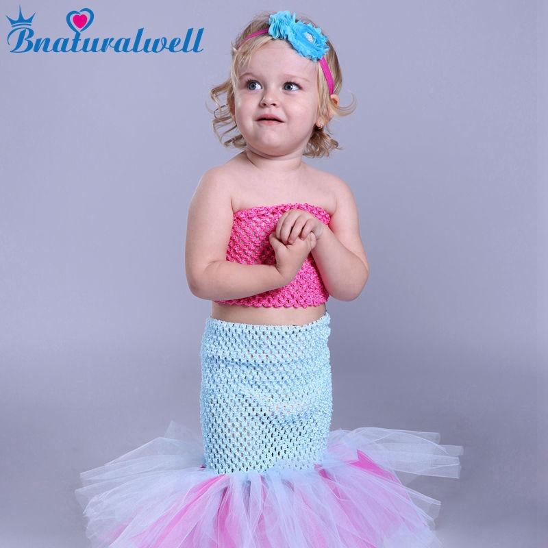 Bnaturalwell Baby Girls Tutu Dress Mermaid Cosplay Costume