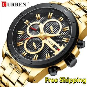 Image 1 - Curren Men Watch 2019 Top Brand Luxury Business Gold Mens Wrist Watch Chronograph Golden Man Watch 2018 Relogio Masculino