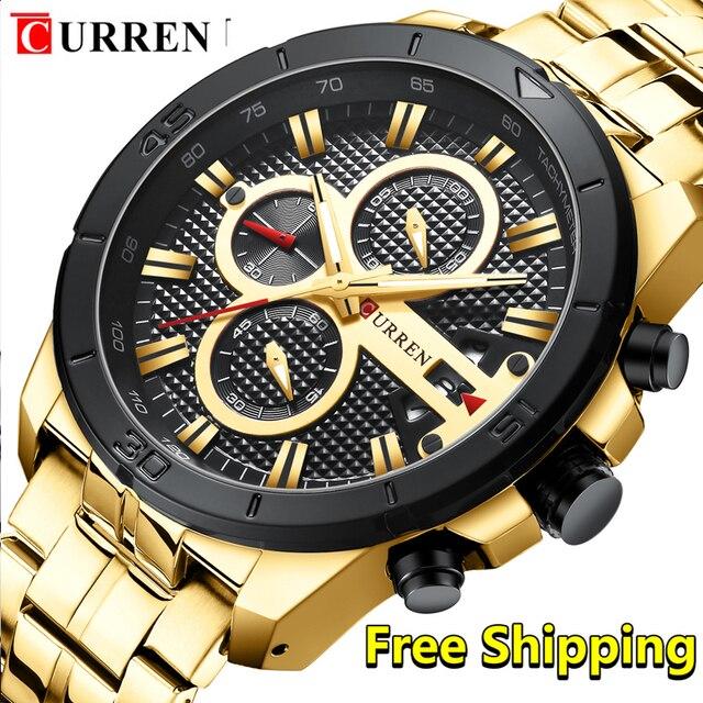 Curren Men Watch 2019 Top Brand Luxury Business Gold Mens Wrist Watch Chronograph Golden Man Watch 2018 Relogio Masculino