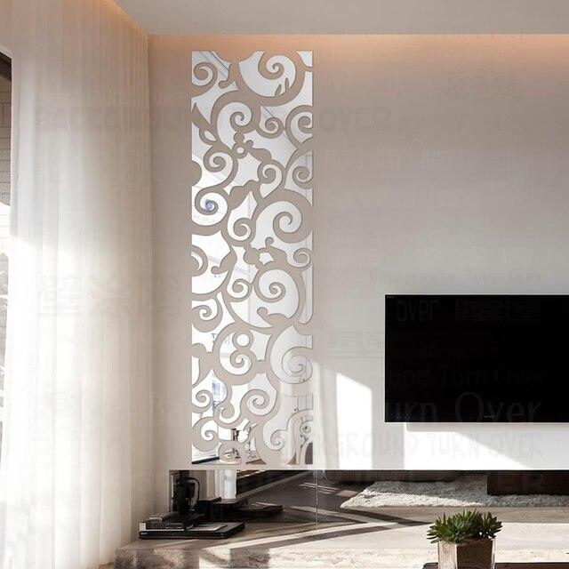 Espejo decorativo 3D con diseño creativo de nubes, pegatinas de pared, decoración de pared de TV, sala de estar y dormitorio, arte para el hogar R123