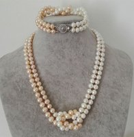 White Pink Color 7 8MM Pearl Jewelry Sets Necklace Bracelet Pearl Sets For Women Party Jewelry Wedding Birthday Christmas Gift