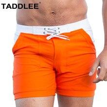 Taddlee Sexy Mens Swimwear Swimsuits Men Swim Boxer Briefs Bikini Trunks Solid Basic Long Swimming Board Surf Shorts Pockets