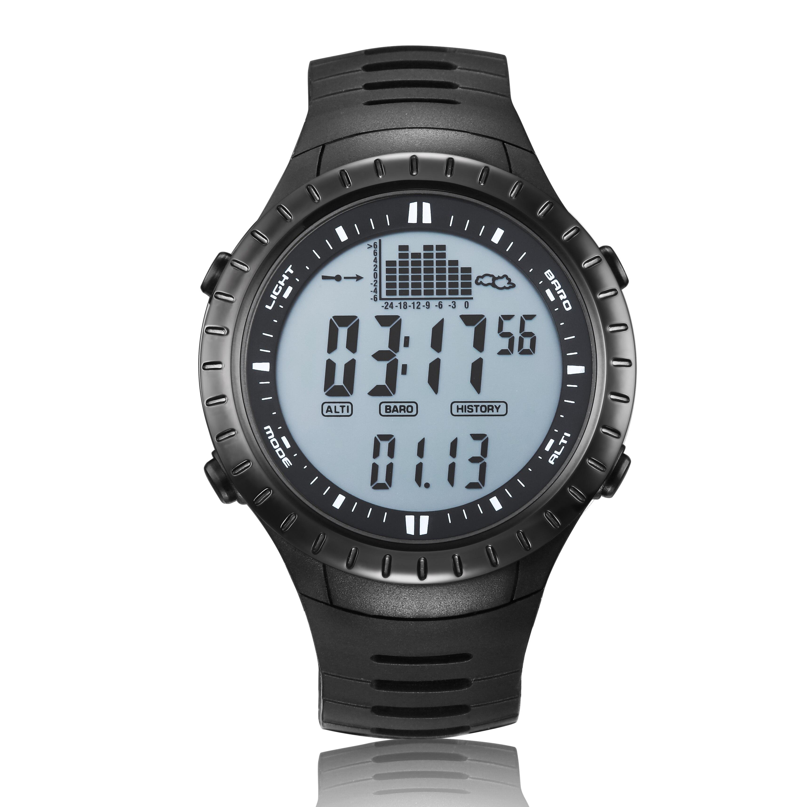 2018 nouvelle montre de pêche baromètre 3ATM thermomètre étanche altimètre hommes Sports militaires montres numériques Spovan SPV710A-in Montres sport from Montres    1