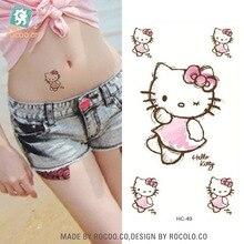 body art painting waterproof temporary tattoos stickers for girl women cute KT cat Metal gold flash tattooHC1049
